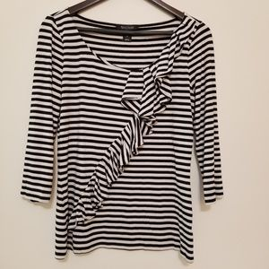 WHBM Black and White Striped Ruffled Top, Med